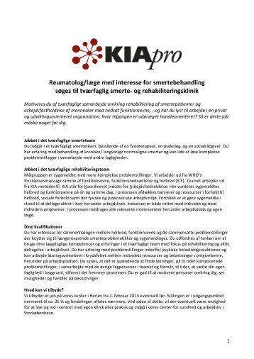 Reumatolog/læge med interesse for smertebehandling ... - KIApro