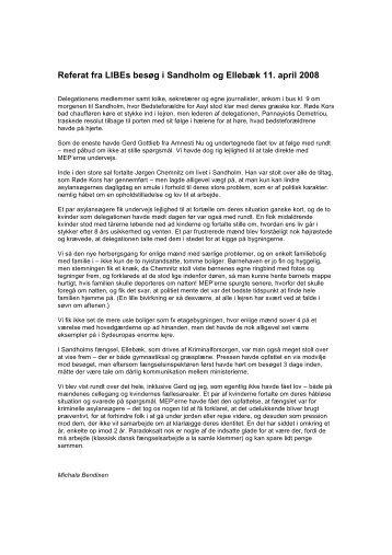 Referat fra LIBEs besøg i Sandholm og Ellebæk ... - SOS mod racisme