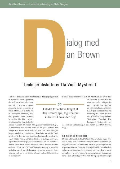 Dialog med Dan Brown af Gitte Buch-Hansen - Kirken Underviser