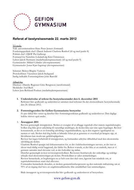 Referat bestyrelsesmøde 20120322 - Gefion Gymnasium