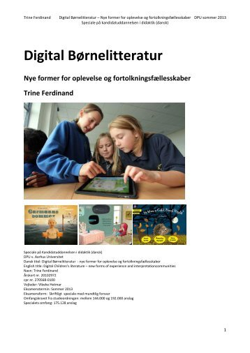 Digital Børnelitteratur Nye former for oplevelse og ...