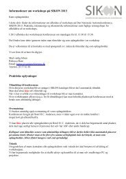 Informationer om workshops på SIKON 2013 Praktiske oplysninger