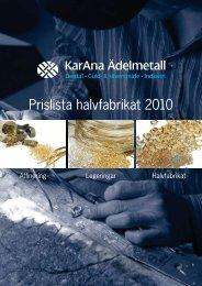 Prislista halvfabrikat 2010
