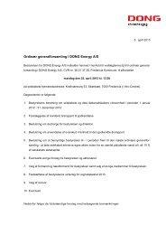 Ordinær generalforsamling i DONG Energy A/S