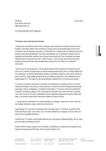 Læs brevet til Ulrik Haagerup - Kopenhagen Fur