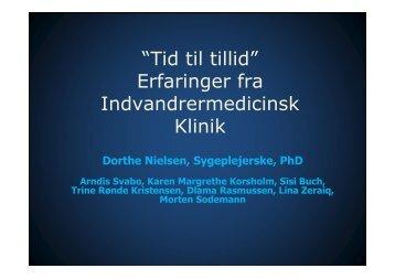 """""""Tid til tillid"""" Erfaringer fra Indvandrermedicinsk Klinik"""