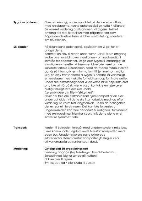 Informationer for skiskolen i uge 7 2012 - Faxe Kommunale ...