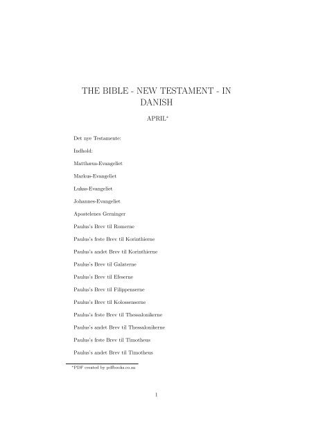 THE BIBLE - NEW TESTAMENT - IN DANISH - PDFbooks