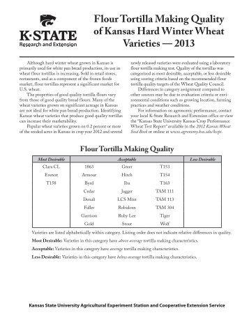 MF3099 Flour Tortilla Making Quality of Kansas Hard Winter Wheat ...