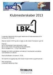 Program for Klubmesterskab 2013 - Lunderskov Badminton Klub