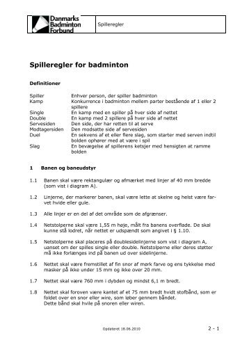 Spilleregler for badminton