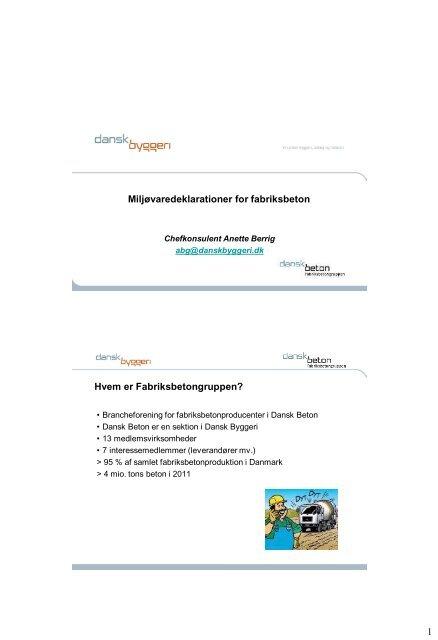 Miljøvaredeklarationer for fabriksbeton - Dansk Betonforening
