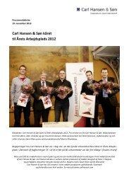 Carl Hansen & Søn kåret til Årets Arbejdsplads 2012