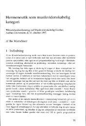 Hermeneutik som musikvidenskabelig kategori - dansk ...