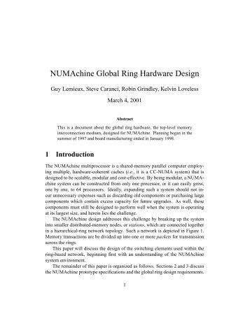 NUMAchine Global Ring Hardware Design