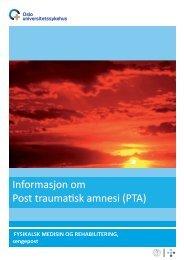 Informasjon om Post traumatisk amnesi - Oslo universitetssykehus