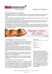 Nyhedsbrev nr. 112, oktober 2012 - Bloddonorerne i Danmark