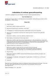 Indkaldelse til ordinær generalforsamling (PDF) - Spar Nord