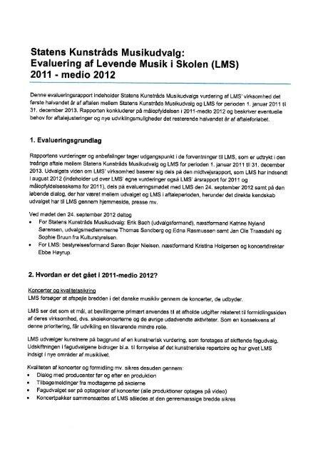 Evaluering af Levende Musik i Skolen - Kunst.dk