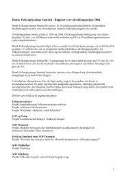 Samlet rapport over udviklingspuljen 2004 - Dansk Folkeoplysnings ...