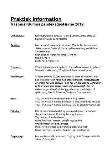 Praktisk information Rasmus Klumps ... - Drengefodbold