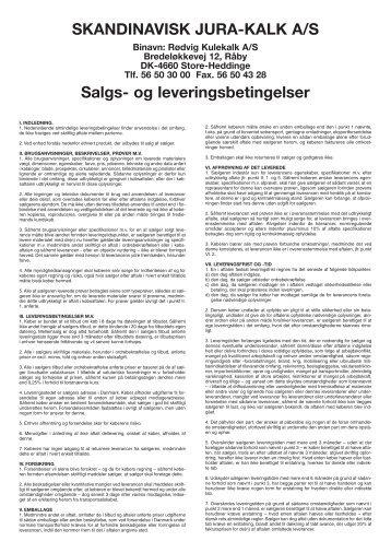 SKANDINAVISK JURA-KALK A/S Salgs- og leveringsbetingelser