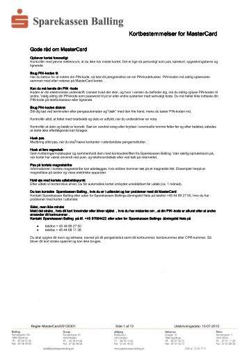 MasterCard Kredit regler - Sparekassen Balling