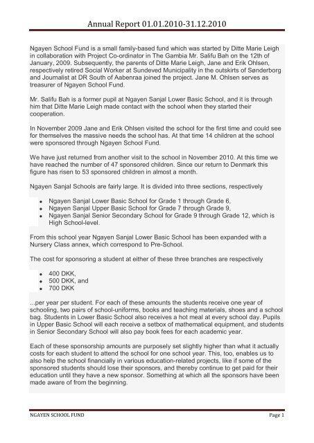 Annual Report 01.01.2010-31.12.2010 - ngayen school fund