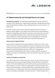 A1 Telekom Austria AG nutzt Overnight-Service von Logwin