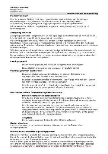 Solrød Kommune BorgerService Information om børnepasning ...