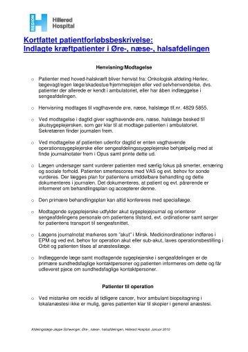 Kortfattet patientforløbsbeskrivelse: Indlagte kræftpatienter i Øre ...