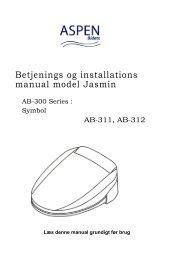 Betjenings og installations manual model Jasmin - toilet-bidet.dk