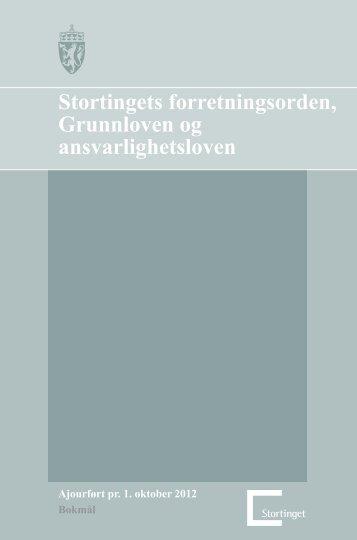 Stortingets forretningsorden, Grunnloven og ansvarlighetsloven i pdf ...
