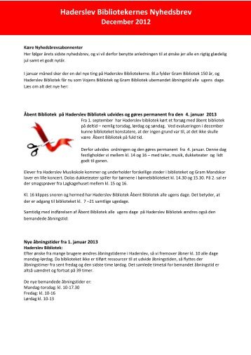 Nyhedsbrev december 2012 - Haderslev Bibliotek