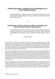 Indskrænkninger i arbejdsgiverens afskedigelsesret i EU-retligt ...