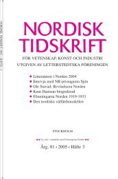 Nordisk Tidskrift 3/05 - Letterstedtska föreningen