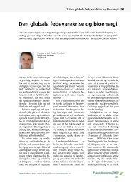 Den globale fødevarekrise og bioenergi (indlæg på ... - LandbrugsInfo