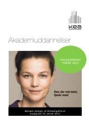HOLDOVERSIGT FORÅR 2013 - KEA