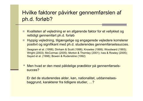 Forskelle og ligheder mellem ph.d. vejledning i forskellige fag
