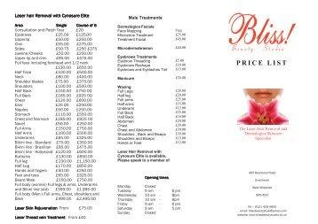 new pricelist 2013 - Bliss Beauty Studio