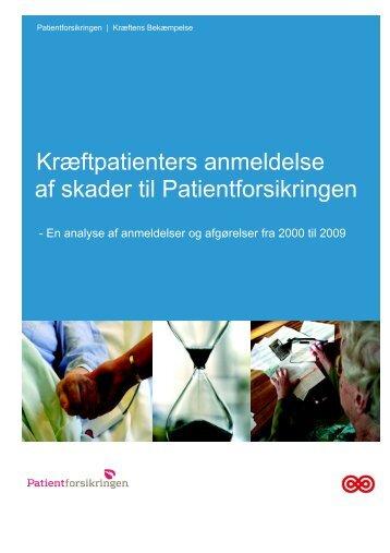 Kræftpatienters anmeldelse af skader til Patientforsikringen