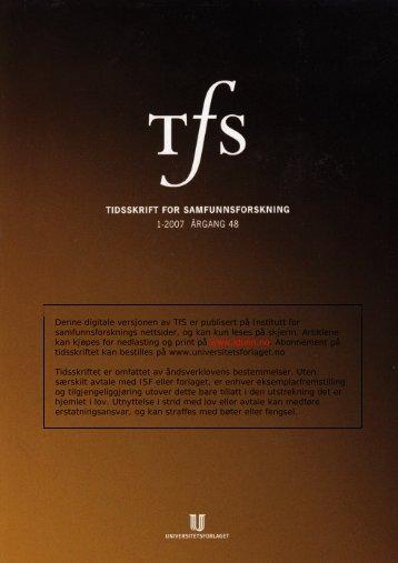 0000 UFt TFS 0701M.book - Institutt for samfunnsforskning