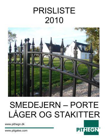 prisliste 2010 smedejern – porte låger og stakitter - JM Smede