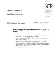 Delårsrapport 3. kvartal 2009 - NTR Holding A/S