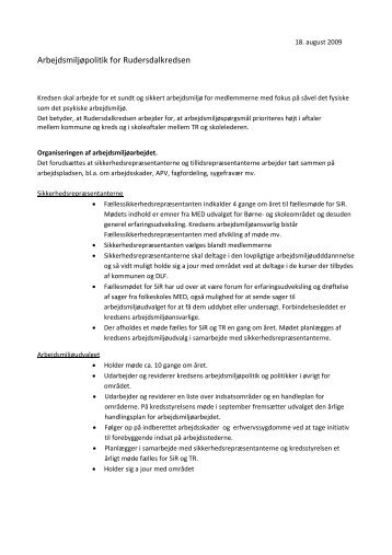 Rudersdalkredsens arbejdsmiljøpolitik