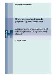 Afrapportering fra Underudvalget for Psykiatri- og Socialområdet