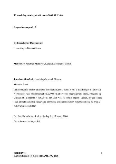 FORTRYK LANDSTINGETS VINTERSAMLING 2006 1 ... - Inatsisartut