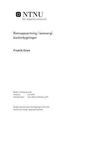Romoppvarming i lavenergi kontorbygninger - NTNU