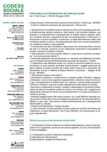 Informativa sulla Privacy D.Lgs 196/2003 - Codess Sociale