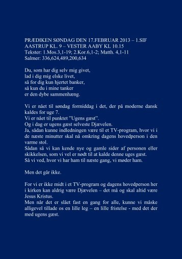 PRÆDIKEN SØNDAG DEN 17.FEBRUAR 2013 - Vester Aaby og ...